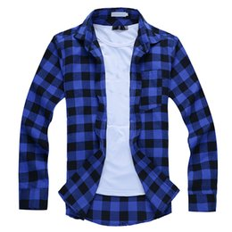 Wholesale Men S Dress Shirts Sale - Wholesale-Hot Sale 2016 Summer Causal Long Sleeve Plaid Men Shirts Turn-Down Collar Single Breasted Chemise Homme Mens Dress Shirt