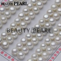 Wholesale easter cabochons - White Grade AAA Natural Freshwater Pearl Cabochons Flat Back Half Drilled Loose Pearls 6mm-10mm White Pearls Wholesale