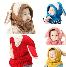 Wholesale Hooded Scarf Cute - Cute Baby Rabbit Ears Knitted Hat Infant Toddler Winter Warm Hat Beanies Cap with Hooded Scarf Earflap baby Kid Hat