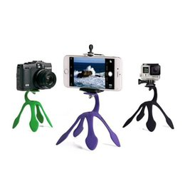 Wholesale Phone Mount Stand Camera - Universal Flexible Gekkopod Portable Phone Holder Gecko Mini Tripod Multi Function Phone Camera Stand Octopus Spider Mount For Cell Phone