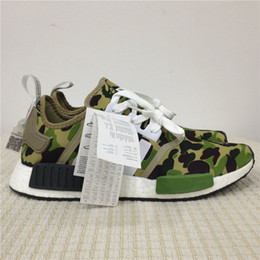 Wholesale Bathing Table - Real Boost Baps x NMD Runner R1 Green Camo Bathing Running Shoes for Men Fashion Originals NMDs Runner Sport Sneakers Women Athletic Shoes