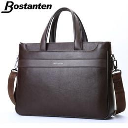Wholesale Genuine Leather Business Bags Bostanten - Bostanten Guaranteed Genuine Leather Men's Briefcase Messenger Bags Business Travel Bag Man leather vintage bags shoulder bag
