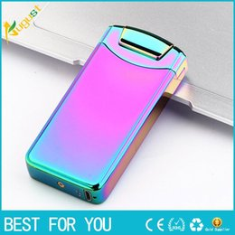 Wholesale mini rechargeable lighter - 2017 New USB lighters portable mini bar USB rechargeable lighter windproof electronic cigarette lighter arc lighter
