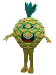 Hochwertige obstkostüme online-2016 hohe qualität Ananas Maskottchen Kostüm Gelb Obst Kostüm Erwachsene Größe Köstliche Ananas Kostüme Halloween Party Outfits