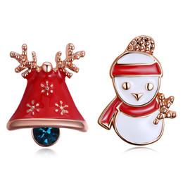 Wholesale Bell Flower Earring - Merry Christmas Xmas Bell & Snowman Irregular Stud Earrings for Women Girls Cute Christmas Ear Jewelry Gift Aretes Fashion Jewelry Wholesale