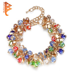 Wholesale Friendship Chains - BELAWANG Bohemian Style Women Bracelets Gold Plated Colorful Crystal Stone Charm Bracelets For Friendship Gift Bracelets Free Shipping