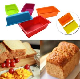 Wholesale Mini Cakes Boxes - Mini Silicone DIY Toast Box Mould Baking Tools Rectangular Cake Bread Plate Kitchen Baking Tools Heat Resisting Multi Colors OOA3351