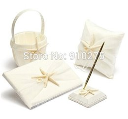 Wholesale Starfish Basket - Set of 4 Ivory Starfish Wedding Collection Set Ring Pillow Flower Basket Guest Book Pen Set Beach Themed Wedding Party Favors