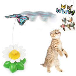 Wholesale Butterfly Wire - New Funny Pet Cat Kitten Play Toy Electric Rotating Butterfly bird Steel Wire Cat Teaser For Pet Play Toys