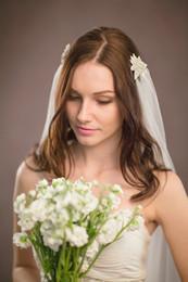 Wholesale Diamond Bead Ivory Wedding Veils - New Top Quality Best Sale Romantic Fingertip White Ivory Cut Edge Veil Jewelry with diamond Bridal Head Pieces For Wedding Dresses
