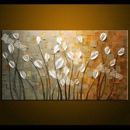Modern Fashion White Flowers Canvas Painting Hand Painted Simple Oil Wall Art Decoration Home Living Room