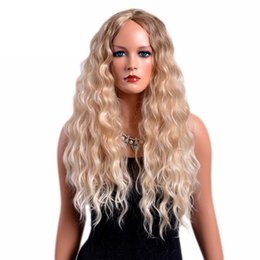 Wholesale 28 Inch Curly Synthetic Wigs - 28 Inches Long Curly Wigs for Women Blonde Color American Afro Synthetic Hair Ombre Wig