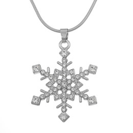 Wholesale Gold Tone Bridesmaid Jewelry - Silver Tone White Crystal Stone Snowflake Pendant Necklace Winter Bridal Bridesmaid Christmas Holiday Jewelry