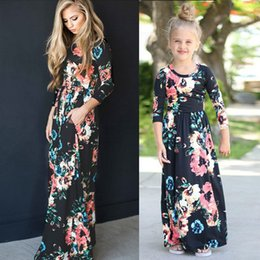 Wholesale New Look Fashion Dress - Mother Daughter Floral Maxi Dress 2017 New Spring Autumn Long Dress Family Look Fashion Family Matching Outfits