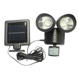 Wholesale Head Lamp Shop - 2017 New Solar LED Spotlights Double Head Human Body Induction Sensor Light Wall Garage Garden Shops Spotlights Lamp