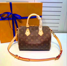 Wholesale Nylon Canvas Strap - Genuine Leather speedy Top quality 30 handbag shoulder bag speedy 25 with strap designer handbags Ladies tote can hot stamping letter(M40390