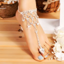 Wholesale Size Barefoot Sandals - 2017 Barefoot anklets Sandals Foot Jewelr Hollow Out Silver chain Crystal Beach Wedding one size for all dress up your feet