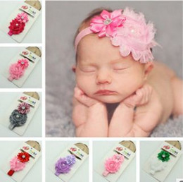 Wholesale Big Bow Head Band - Pretty baby Hair Accessories For Infant Baby Lace Big Flower Bow Princess Babies Girl Hair Band Headband Baby's Head Band Kids
