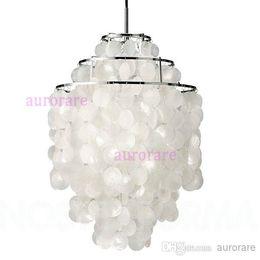 Wholesale Lamp Seashells - Verner Panton Shell lamps Fun pendant lamp 2 and 3 Circle DIY Shell Pendant Lamp seashell chandelier lights FUN pendant modern chandelier