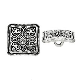 Wholesale Square Buttons Sewing - 100PCS Flower Metal Sewing Buttons Square Silver Tone Pattern Buttons For DIY Craft Garment Accessorie 13x13mm I251L
