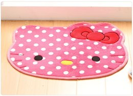 Wholesale Door Carpets - Free Shipping 50cmx60cm Hello Kitty Circular Cartoon Bedroom Carpet Coral fleece anti slip Door Mat Winter Floor Mats Car mat
