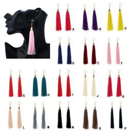 Wholesale Thread Chandelier Earring - Bohemian Vintage Long Tassel Dangle Earrings Various 16 colors Thread Fringe Drop Earring Jewelry For Women