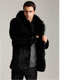 Wholesale Black Mink Coats - New Winter Men Coat plus size Faux Mink Fur Coat Thick Long Sleeve Natural Fur Overcoat Fashion Talior Made Fur Outerwear jacket