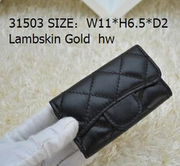 Wholesale Leather Belt Key Chain - 31503 Women Genuine Leather Lambskin Leather key Holder Small Purse For Key Wallets Card & ID Holders Key Wallets