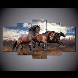 Wholesale Framed Horse Painting - 5 Pcs Set Framed Printed Animals running horse picture painting wall art Canvas Print room decor poster canvas Free shipping NY-5723