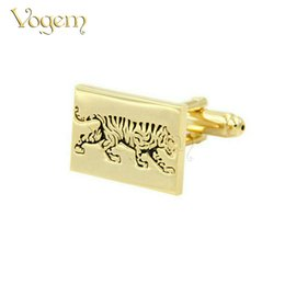 Wholesale French Style Clothes - Vogem Square Shape Domineering Tiger Pattern Cufflinks White Steel Plated Gilded French Style Bussiness Charm Cufflinks for Mens Clothing