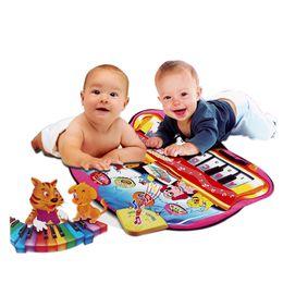 Wholesale musical play mats - Musical Carpet PVC Waterproof Cartoon Animal Play Mat Blanket Plastic Baby Educational Sounding Toy PlayMat 73*60cm