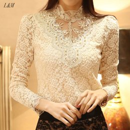 Wholesale Sheer Lace Crochet Top - New 2015 Spring High quality Women Crochet Blouse Lace Sheer Shirs Tops For Women Clothing Vestidos Blusas Femininas Blouses