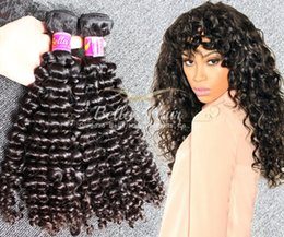 Wholesale Brazilian Hair 3pc - 7A 8~30inch BrazilianHair Bundles Unprocessed Human Hair Double Weft Hair Kinky Curly Weave 3pc lot Black Color Hair Extensions BellaHair