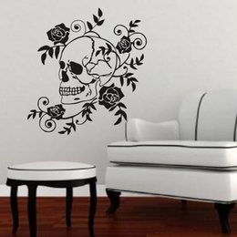 Wholesale Skull Wall Decals - Dangerous Skull Wall Stickers Flower Vinyl Wall Decals Creative Wall Decorative Roses Stickers