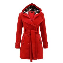 Wholesale double hooded jacket - Wholesale- Winter Hooded Sweater Coat Women double-breasted Cardigan Jacket Stitching Long Woolen Coats With Belt Clothing Vestidos LBD6321
