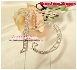 Wholesale Wholesale Wedding Cake Crystals - Wholesale- Crystal Cake topper, ''15'' shape rhinestone cake accessory, 8inch large size, birthday party wedding cake topper accessory