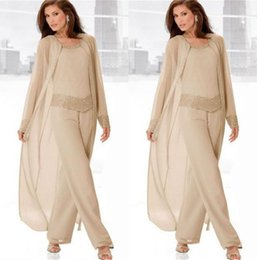 Wholesale Classy Yellow Dresses - Classy Champagne Mother Of Bride Pant Suits Jewel Neck Cheap Beading Wedding Guest Dress With Long Sleeves Jacket Chiffon Mothers Dresses