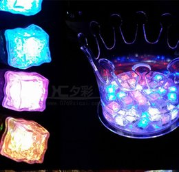Wholesale Crystal Square Lamp - Halloween Flash light Ice Cube Water-Actived Flash Led Light Square lamp Put Into Water Drink Flash Automatically for Party Bars DHL free