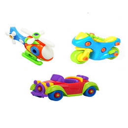 Wholesale metal train sets - 3pcs set DIY toy Removable toy baby early education Motorized vehicle airplane 3 combination of equipment Develop intelligence
