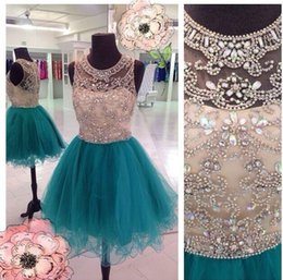 Wholesale Teal Plus Size Party Dresses - 2016 Cheap Sexy Homecoming Dresses Jewel Neck Hunter Teal Tulle Crystal Beaded Illusion Short Mini Party Graduation Formal Cocktail Gowns