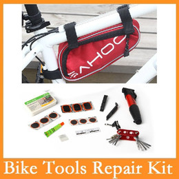 cycling tool set Coupons - Wholesale-High quality Original SAHOO 15 in 1 Cycling Bicycle Tools Bike Repair Kit Set with Pouch Pump Red Blue Black 3 Colors Choice