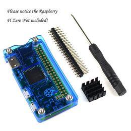 Wholesale Raspberry Pi Acrylic - For Raspberry Pi Zero Professional Kit,including Blue Clear Acrylic Case, GPIO 40 Pin Header, Aluminum Heatsink, Screwdriver