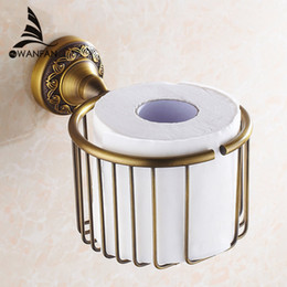 Wholesale Tissue Holders Retail - Antique Brass Finish Bathroom Toilet Paper Holder Rack Tissue Baskets Wall Mount Free Shipping Wholesale And Retail 3722