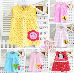 Wholesale Cheap Baby Sleepwear - Cotton sleeveless dress 40cm skirts baby princess dress Korean children's sleepwear T-shirt undershirt vest outdoor sports suits cheap