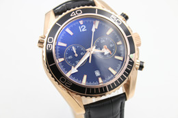 Wholesale Ocean Roses - brand new watch men quartz sports waches Co-Axial planet ocean chronograph watch rose gold case leather watches men dress wristwatches