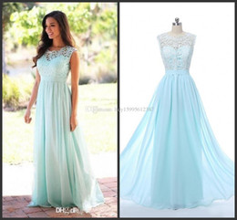 Wholesale Mint Green Gowns - The real picture 2017 Cheap Coral Mint Green Long Junior Bridesmaid Dress Lace Chiffon Country Style Beach Bridesmaid Dresses Formal Gowns