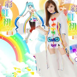 Wholesale Miku Dress - Brand New 2017 White O-Neck Three Quarter Sleeve Hatsune Miku Project Diva Cosplay Costume miku Maid Uniform Dresses