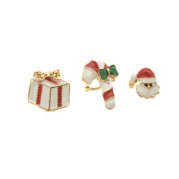 Ohrstulpe online-Lot 12 Sätze (3 Teile / satz) Weihnachten Schmuck Kleine Nette Emaille Krücke Weihnachtsmann Geschenk Box Ohrclip Manschette Ohrringe für Weihnachtsgeschenk