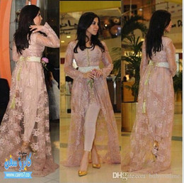 Wholesale Fairy T Shirt - Kim Kardashian Fairy Tale Style Celebrity Gowns Lace Evening Dresses With Long Sleeves Appliqued Hi-lo Split Prom Gowns (Just Out Lace Coat)