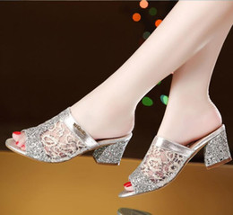 Wholesale Mesh Heel Sandal - Hot selling women shoes summer sandals 2016 new fashion sandals summer slippers mesh thick heel women sandals shoes sequined large size